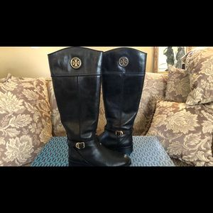 Authentic Tory Burch Logo Ridding Boot